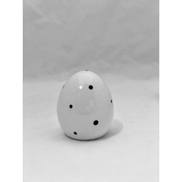 Ei Finn H 8 cm  weiß/schwarz Pukte klein