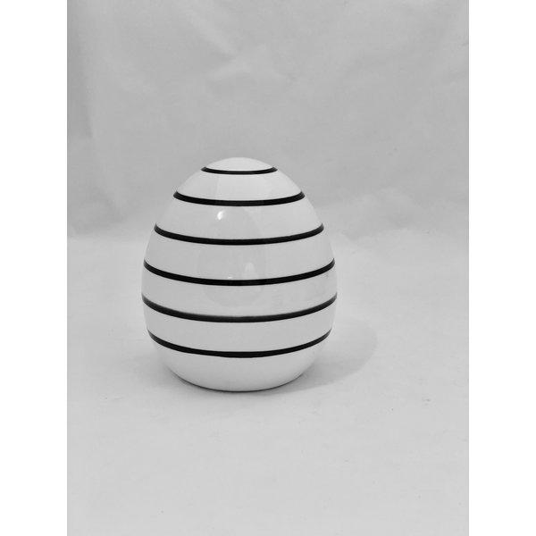 Ei Finn H 11 cm  weiß/schwarz Streifen