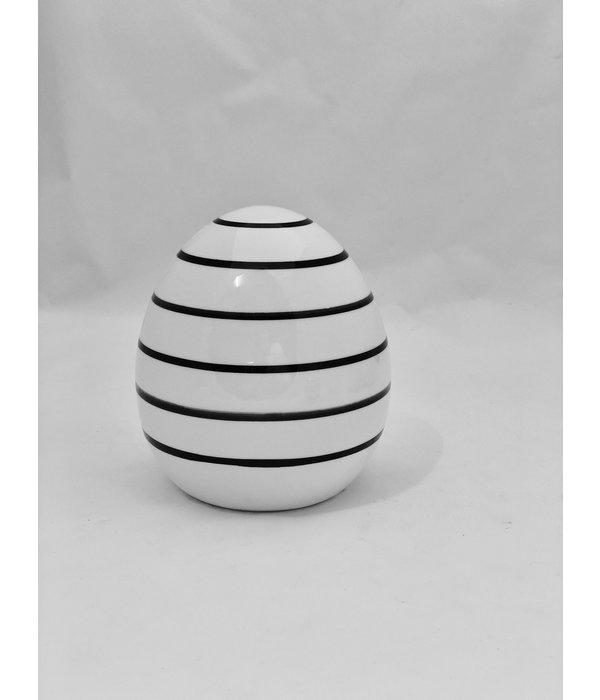 Boltze Ei Finn H 11 cm  weiß/schwarz Streifen