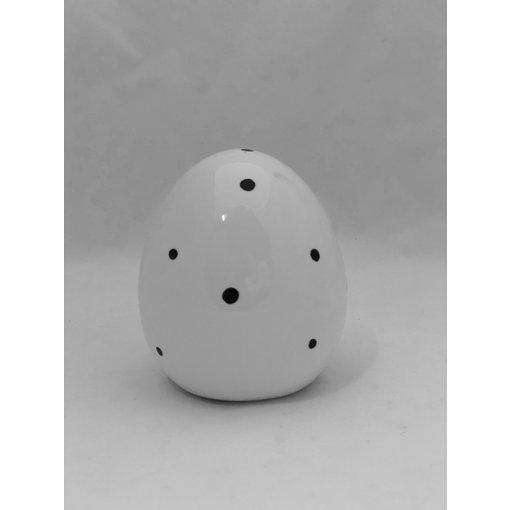 Boltze Ei Finn H 11 cm  weiß/schwarz Punkte