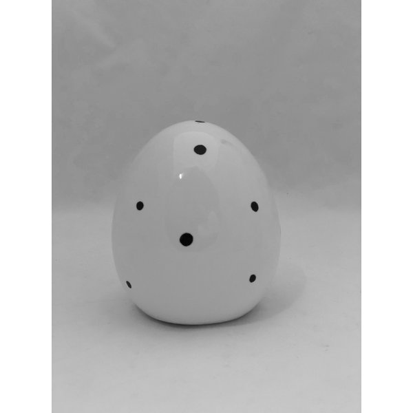 Ei Finn H 11 cm  weiß/schwarz Punkte