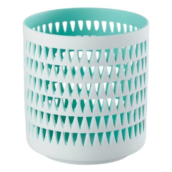 Teelichthalter MILA aqua/weiß