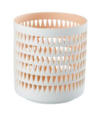 Créton Maison Teelichthalter MILA coralle/weiß