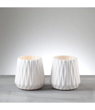 Créton Maison Teelichthalter/Vasen LEONA weiß, 2er Set