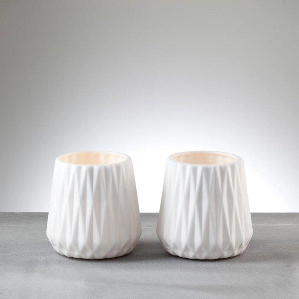 Teelichthalter/Vasen LEONA weiß, 2er Set