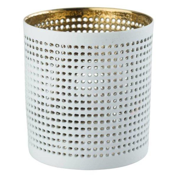 Teelichthalter NORA gold/weiß, 2er Set