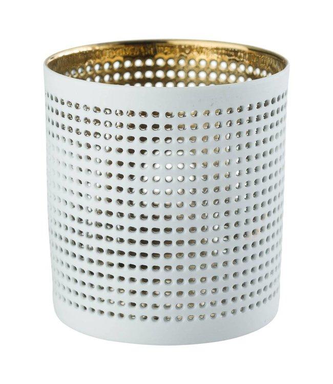 Créton Maison Teelichthalter NORA gold/weiß, 2er Set