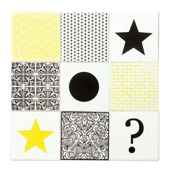 Keramik Untersetzer 9 Stück weiß / gelb / schwarz