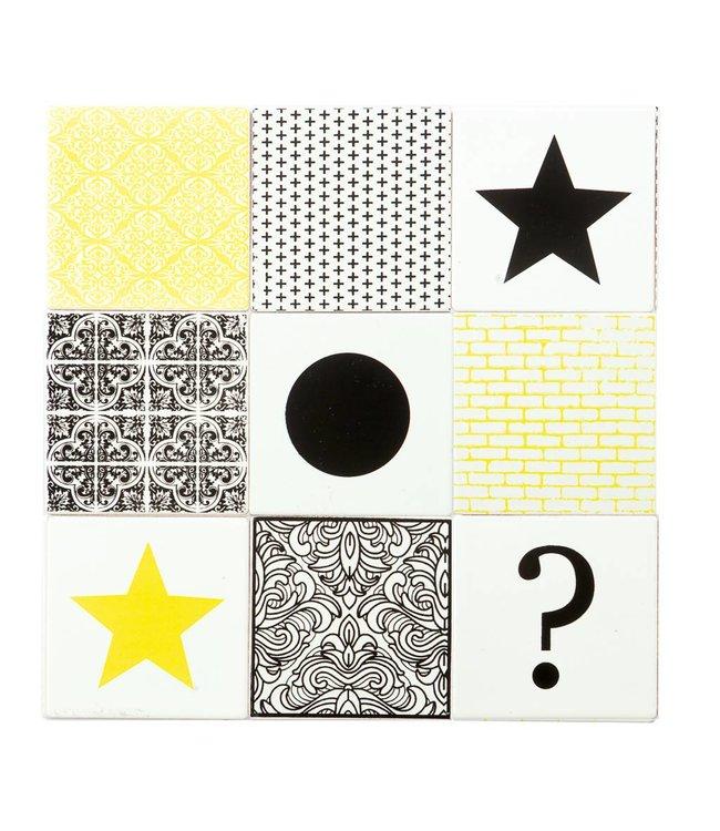 OPENMIND Keramik Untersetzer 9 Stück weiß / gelb / schwarz