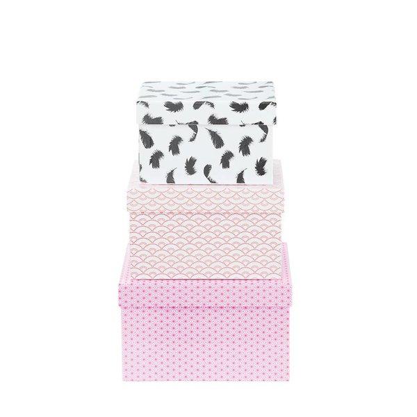 Geschenkboxen Set 3'er pink/silber