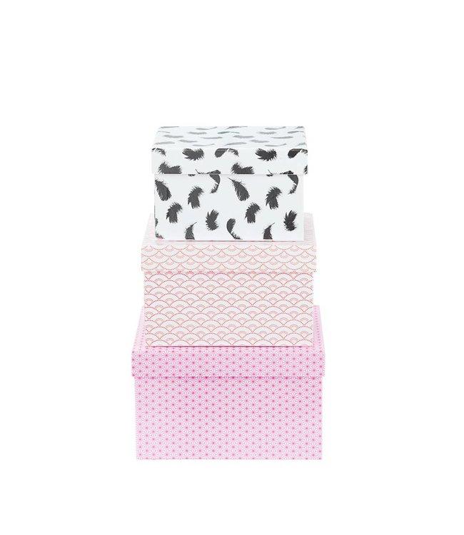 Créton Maison Geschenkboxen Set 3'er pink/silber