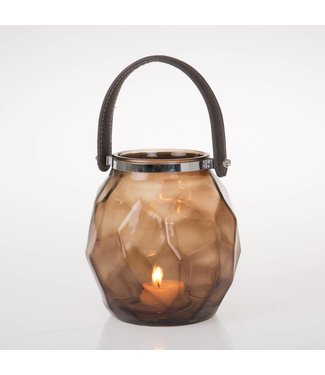 HomeartByBahne Teelicht Laterne mit Griff - Braun