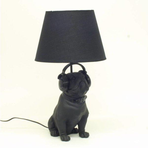 Lampe Bulldog mit Lampenschirm, Schwarz