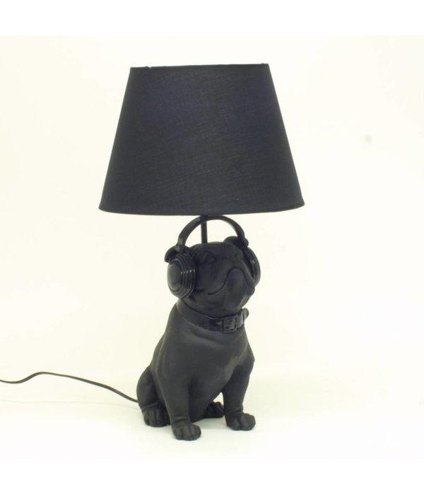 HomeartByBahne Lampe Bulldog mit Lampenschirm, Schwarz