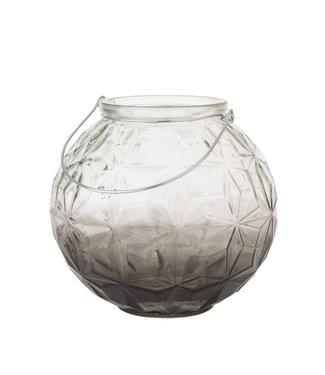 HomeartByBahne Kugel-Laterne/Vase Rund mit Griff - Ø 23 cm - Grau