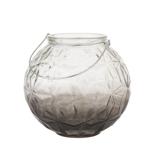 Kugel-Laterne/Vase Rund mit Griff - Ø 23 cm - Grau