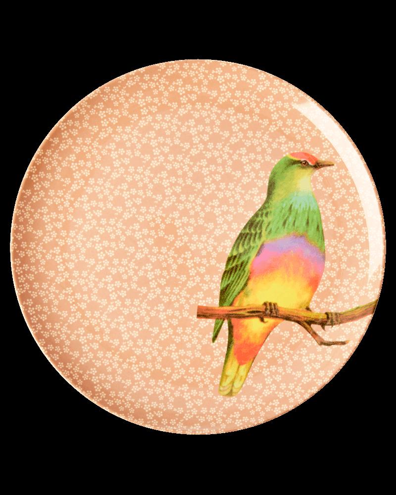 RicebyRice Medium plate bird pink