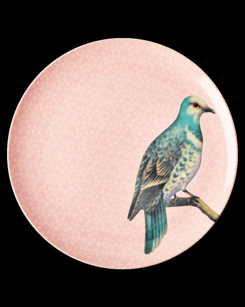RicebyRice Mittlerer Teller Vogel rosa