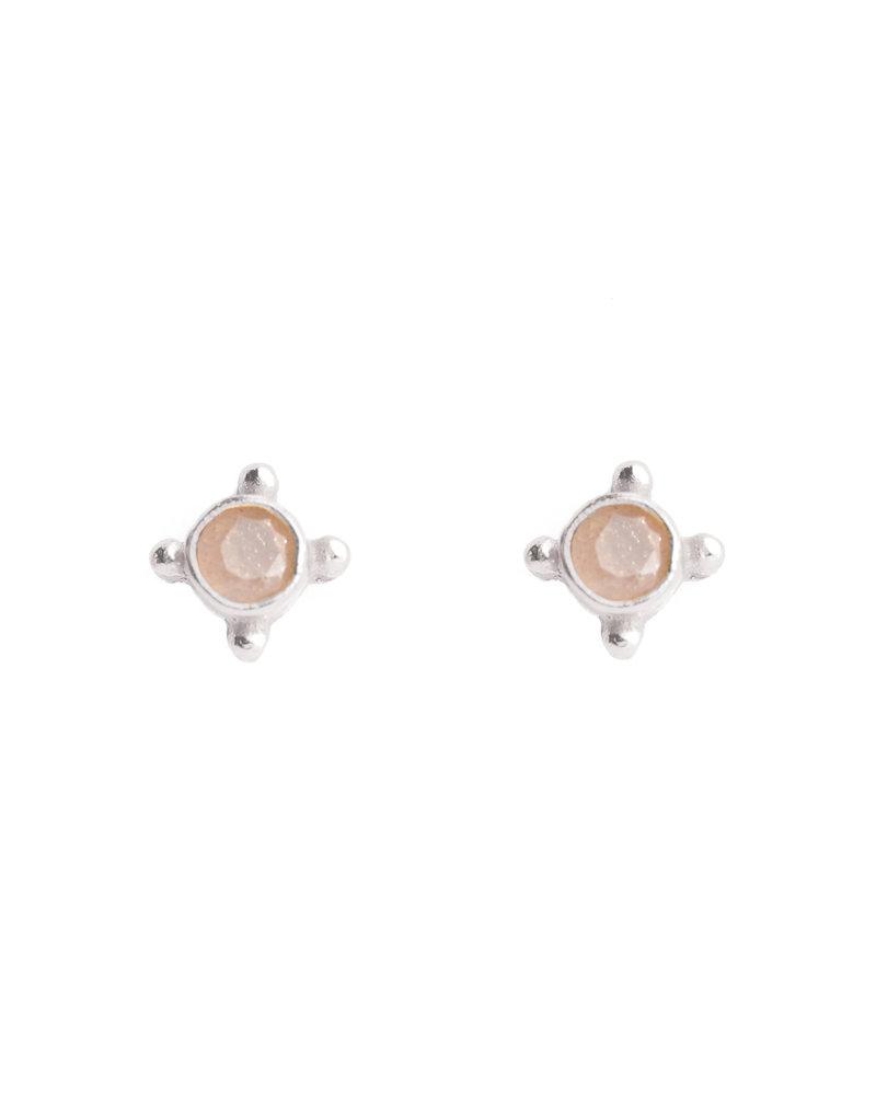 Muja Juma Earring 925 Sterling Silver with Peach moonstone
