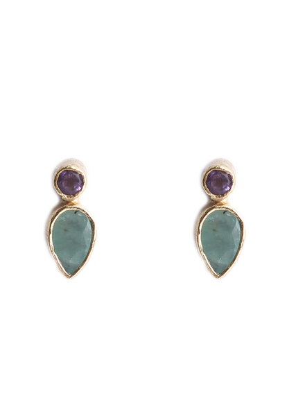 Muja Juma Earring stud drop +2mm purple / amazonite gold plated