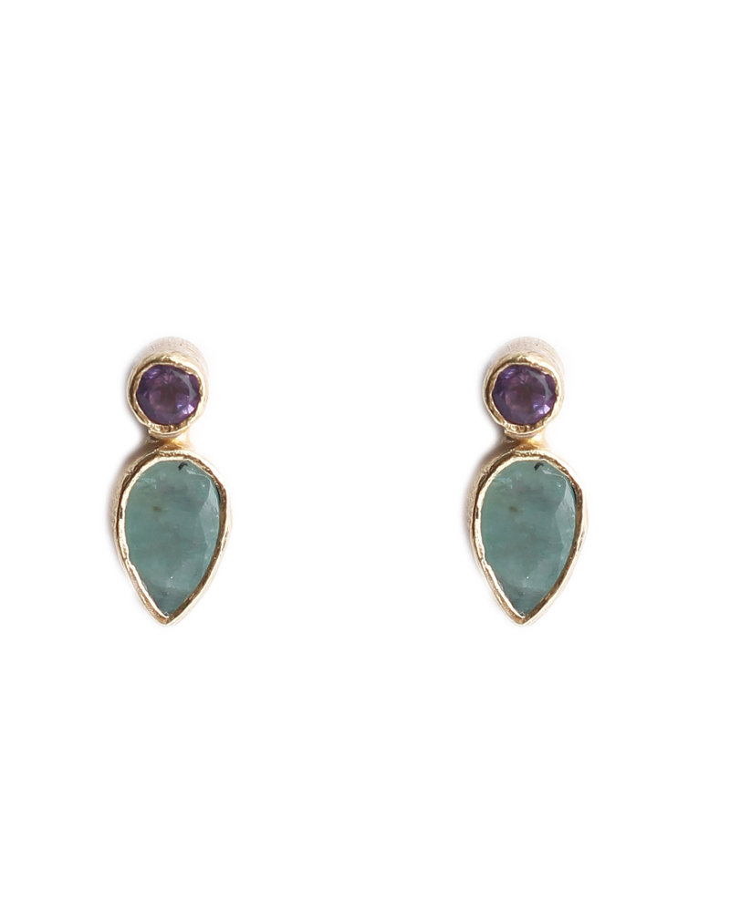 Muja Juma Earring 925 Sterling Silver with Purple stone and Amazonite gold plated