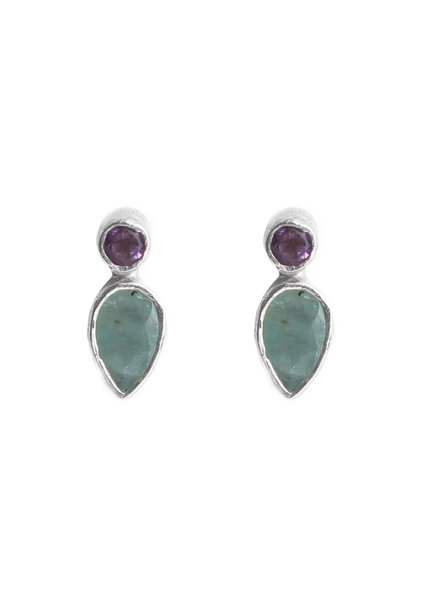 Muja Juma Earring stud drop +2mm purple / amazonite