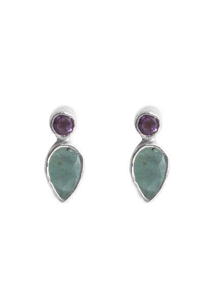 Muja Juma Earring stud drop +2mm purple / amazonite