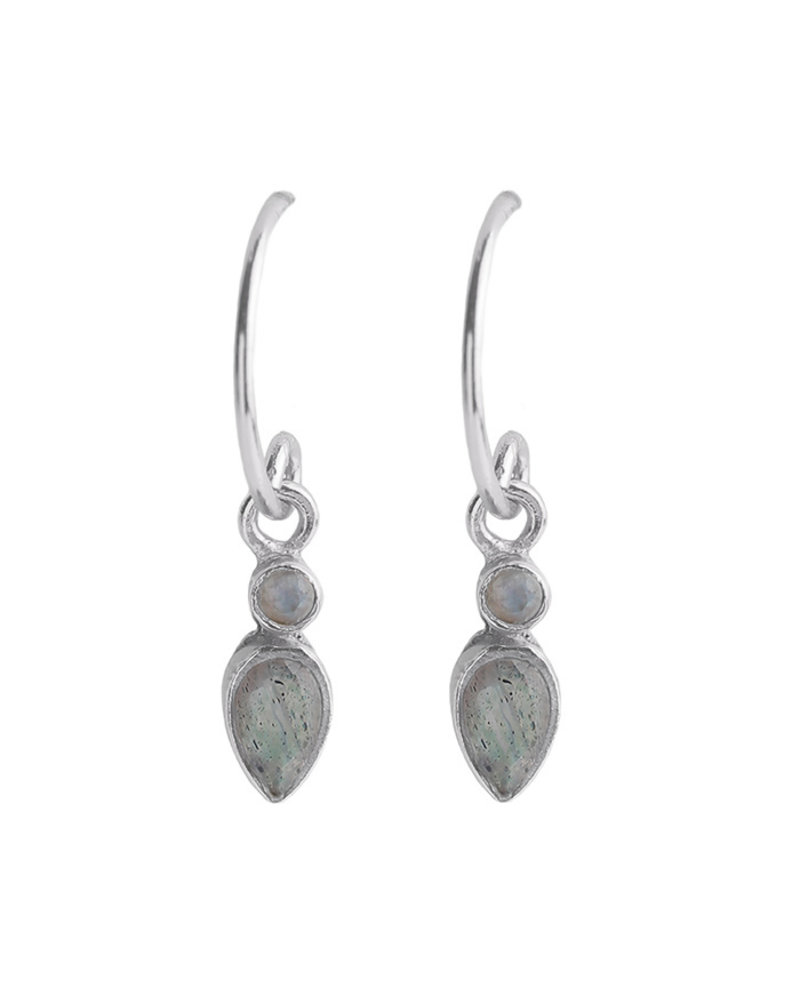 Muja Juma Earring 925 Sterling Silver with White moonstone and Labradorite