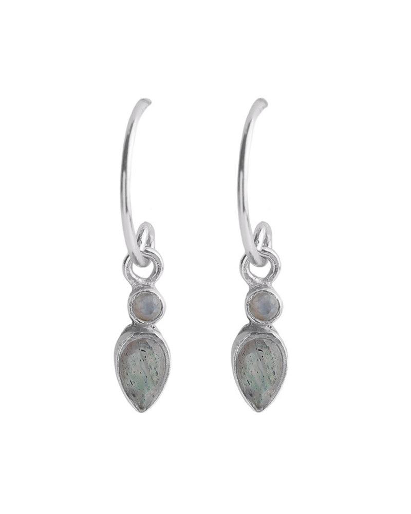Muja Juma Oorbellen 925 Sterling Silver met Witte maansteen en Labradoriet