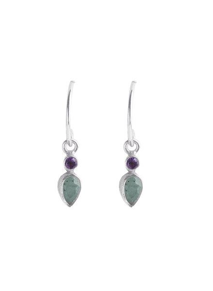 Muja Juma Earring drop +2mm purple / amazonite