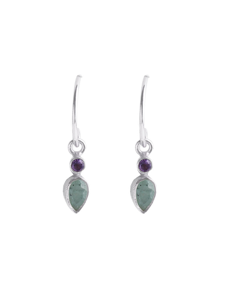 Muja Juma Earring 925 Sterling Silver with Purple stone and Amazonite