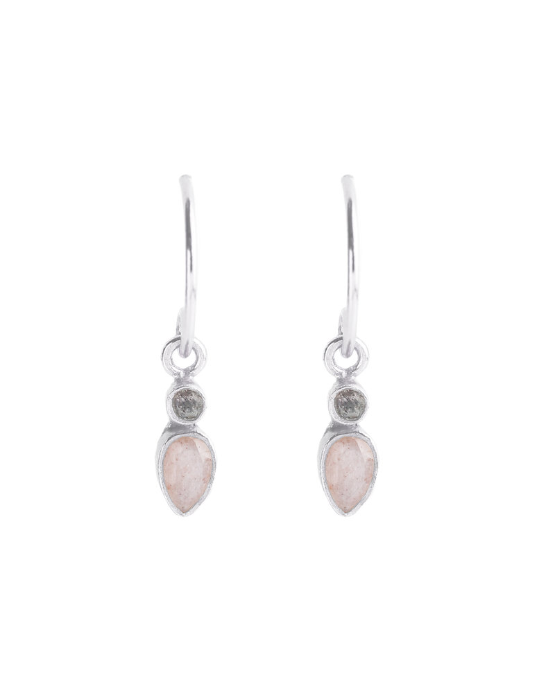 Muja Juma Earring 925 Sterling Silver with Labradorite and Peach moonstone