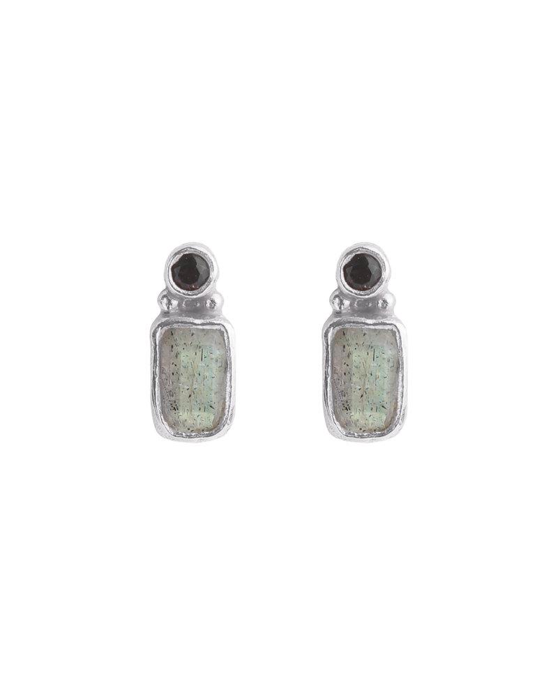 Muja Juma Oorbellen 925 Sterling Silver met Donkere quartz en Labradoriet