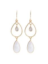 Muja Juma Earring summer drops labradorite / white moonstone gold plated