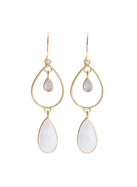 Muja Juma Earring summer drops labradorite / white moonstone gold plated