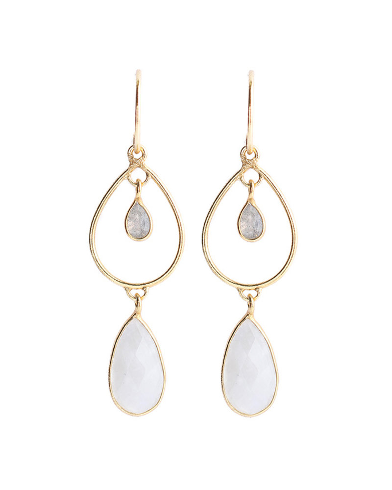 Muja Juma Earring 925 Sterling Silver with Labradorite and White moonstone gold plated