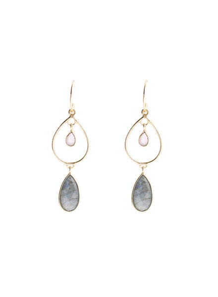 Muja Juma Earring summer drops labradorite / white moonstone gold plated - Copy
