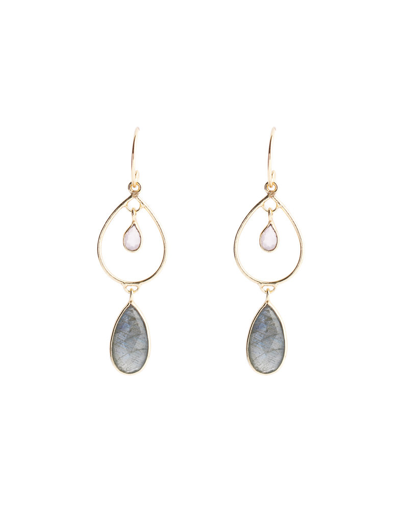 Muja Juma Earring 925 Sterling Silver with Labradorite and White moonstone gold plated - Copy