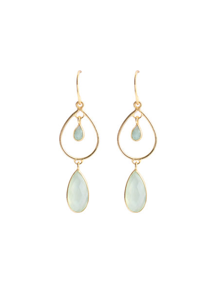 Muja Juma Earrings dream drops of amazonite and nephrite