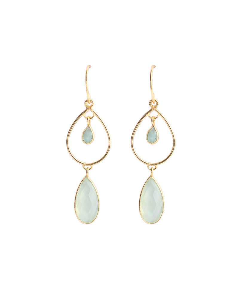 Muja Juma Earrings gold plated 925 Sterling Silver with amazonite and nephrite