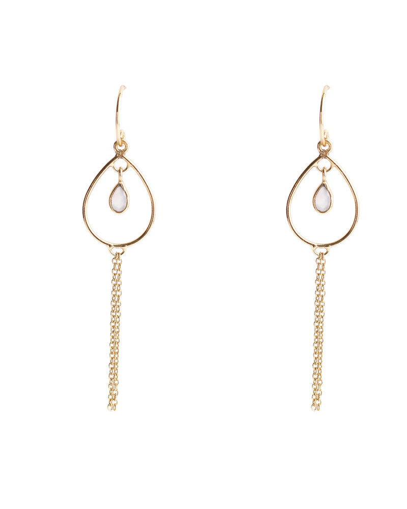 Muja Juma Earring 925 Sterling Silver with Pink Calcedonite gold plated