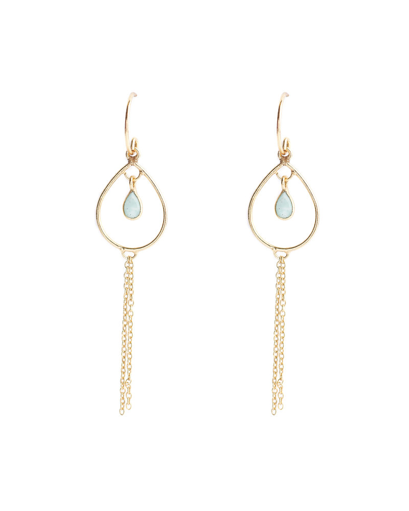 Muja Juma Earring 925 Sterling Silver with Amazonite gold plated