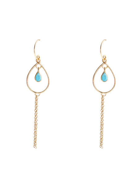 Muja Juma Earring summer chains turquoise gold plated