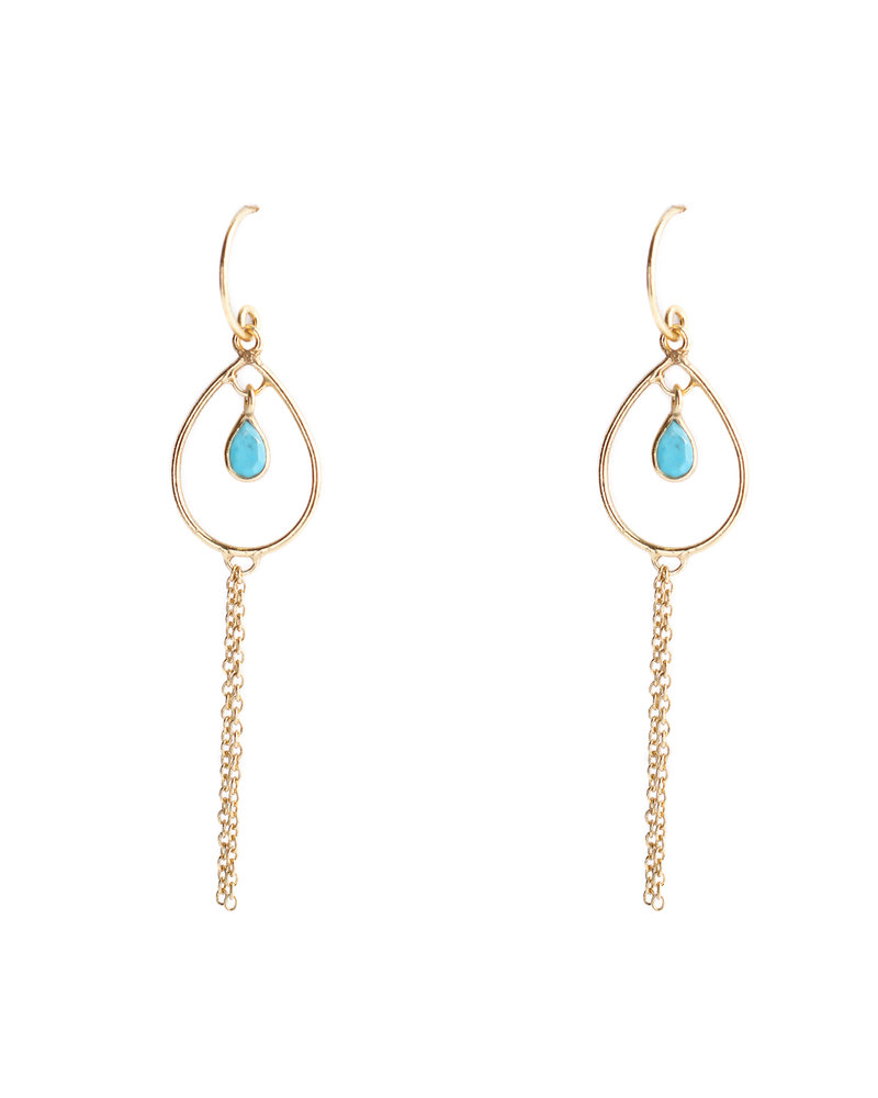 Muja Juma Earring 925 Sterling Silver with Turquoise gold plated