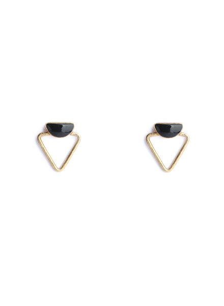 Muja Juma Earring double triangle black onyx gold plated