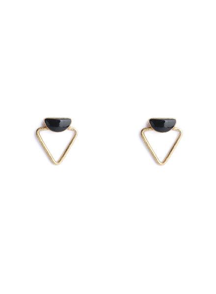Muja Juma Oorbel dubbele driehoek zwarte onyx verguld