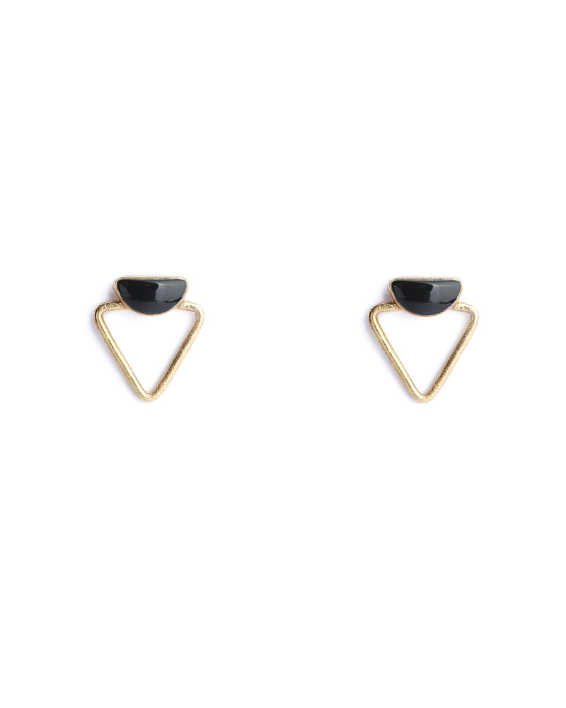 Muja Juma Earring 925 Sterling Silver with Black Onyx gold plated