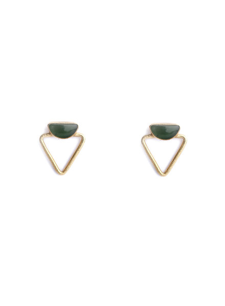 Muja Juma Earring double triangle green zed gold plated