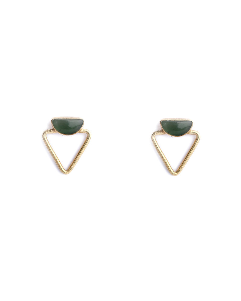 Muja Juma Earring 925 Sterling Silver with Green Zed gold plated