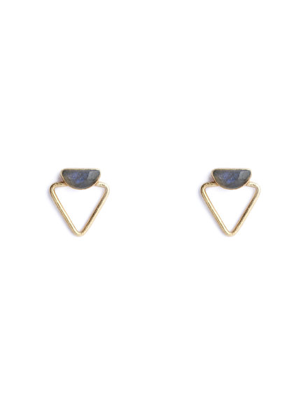 Muja Juma Earring double triangle labradorite gold plated